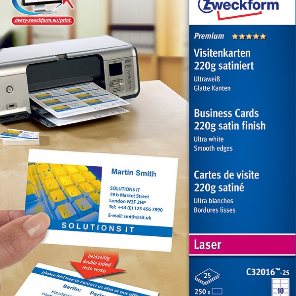 Avery zweckform color laser business cards c32016 25 avery online avery zweckform color laser business cards c32016 25 reheart Gallery