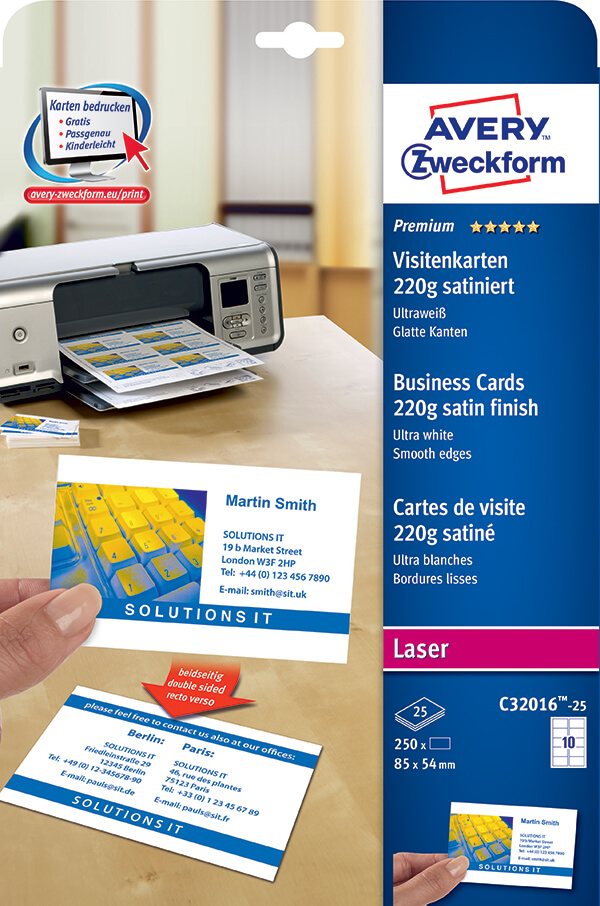 Avery zweckform color laser business cards c32016 25 avery online avery zweckform color laser business cards c32016 25 reheart Image collections
