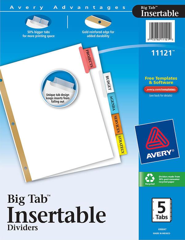 Avery Worksaver Big Tab Insertable Dividers 5 Tab Set 11121
