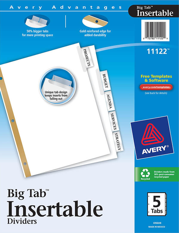 Avery Worksaver Big Tab Insertable Dividers 5 Tab Set 11122
