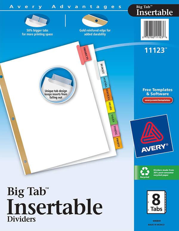 Avery Worksaver Big Tab Insertable Dividers 8 Tab Set 11123