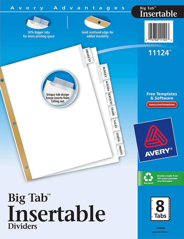 avery worksaver big tab insertable dividers 8 tab set 11124