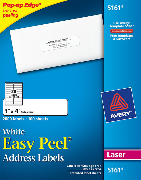 This is an image of Légend Avery White Mailing Labels Template