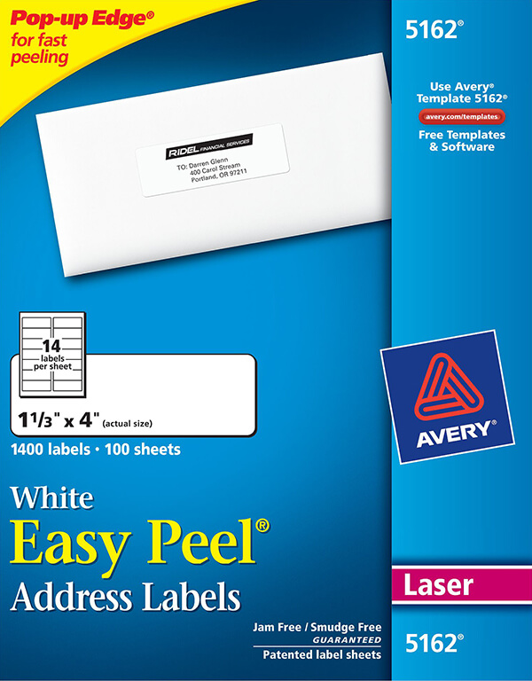 Avery Easy Peel White Address Labels 5162 Avery Online Singapore