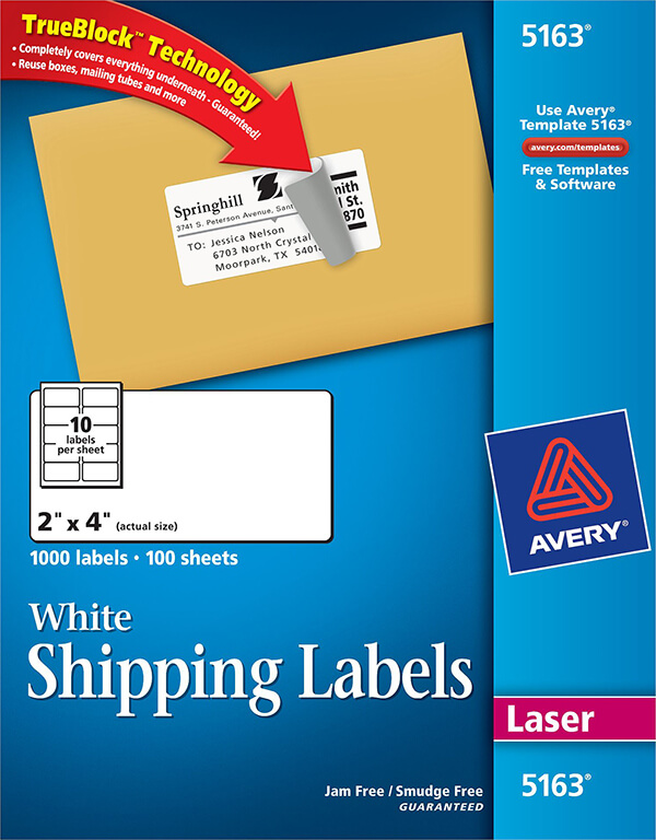 avery white shipping labels with trueblock technology 5163 avery