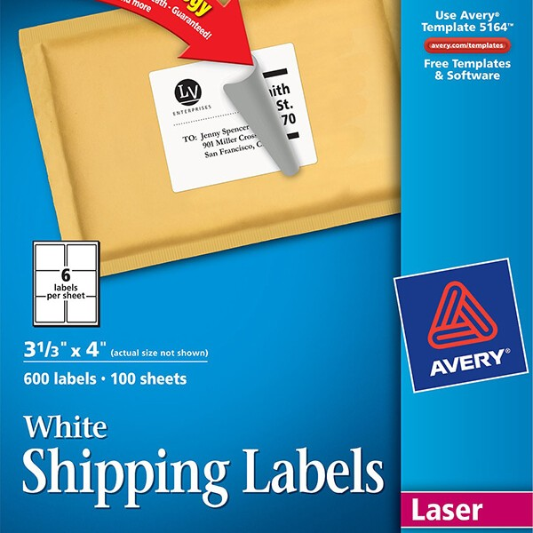 Avery® White Shipping Labels with TrueBlock® Technology-5164 ...