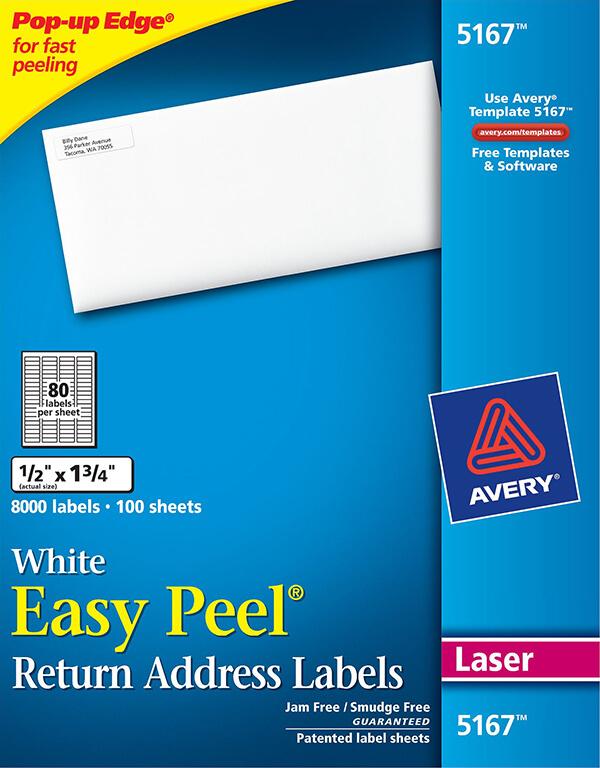 Avery Easy Peel White Return Address Labels 5167 Avery Online