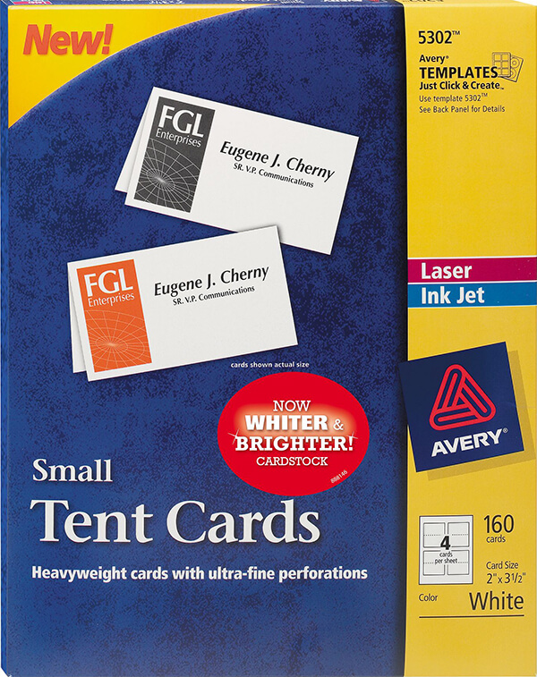 avery 5302 small tent card white 2 x 3 12