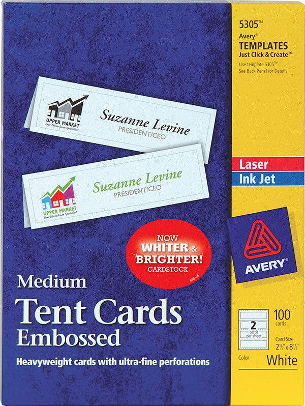 Avery medium embossed tent cards 5305 avery online singapore avery medium embossed tent cards 5305 pronofoot35fo Images