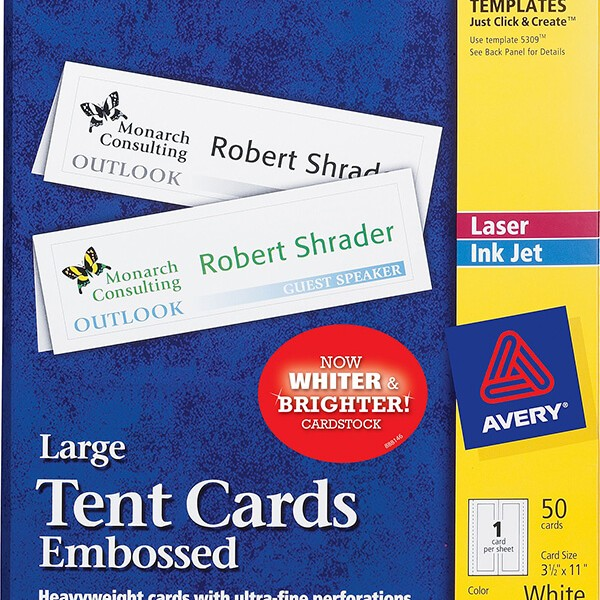 Avery Large Embossed Tent Cards 5309 Avery Online Singapore