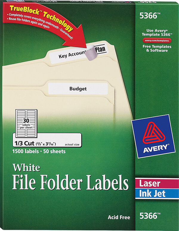 avery white file folder labels 5366