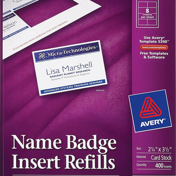 Avery® Name Badge Inserts-5390 - Avery Online Singapore