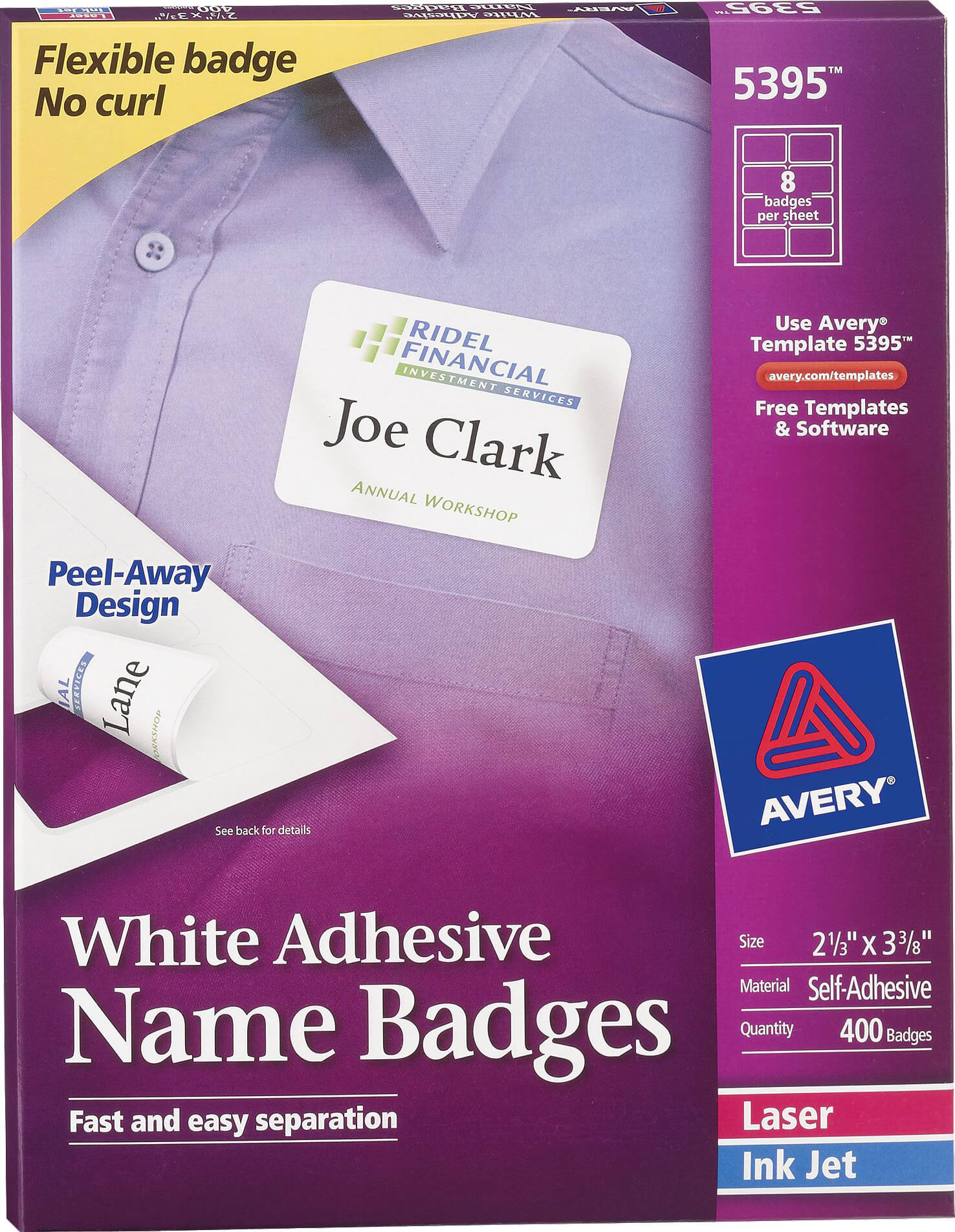 Avery white adhesive name badge labels 5395 avery for Avery name badge template 5392