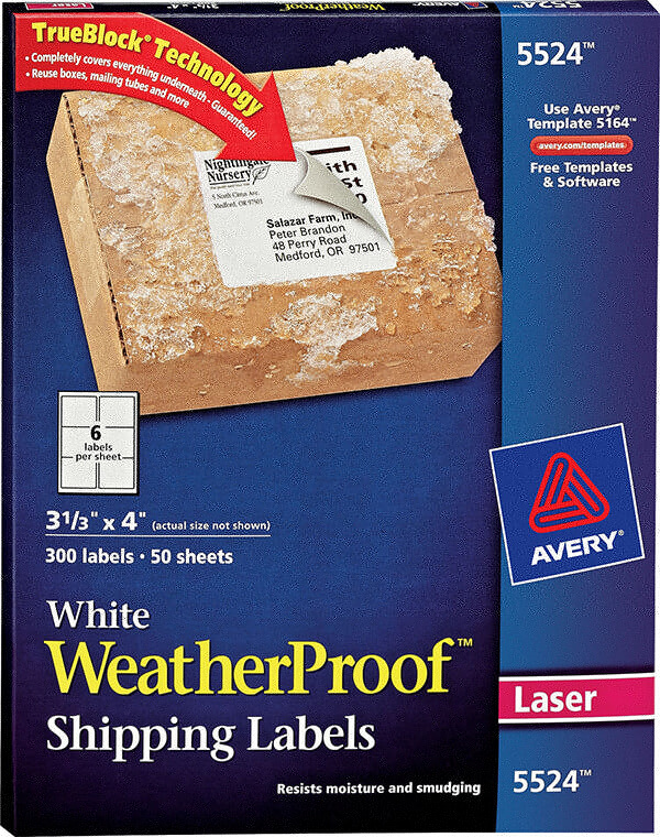 Avery White Weatherproof Labels 5524 Avery Online Singapore
