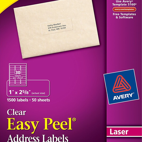 Avery Easy Peel Clear Address Labels 5660 Avery Online Singapore
