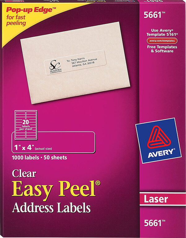 avery easy peel clear address labels 5661 avery online singapore. Black Bedroom Furniture Sets. Home Design Ideas