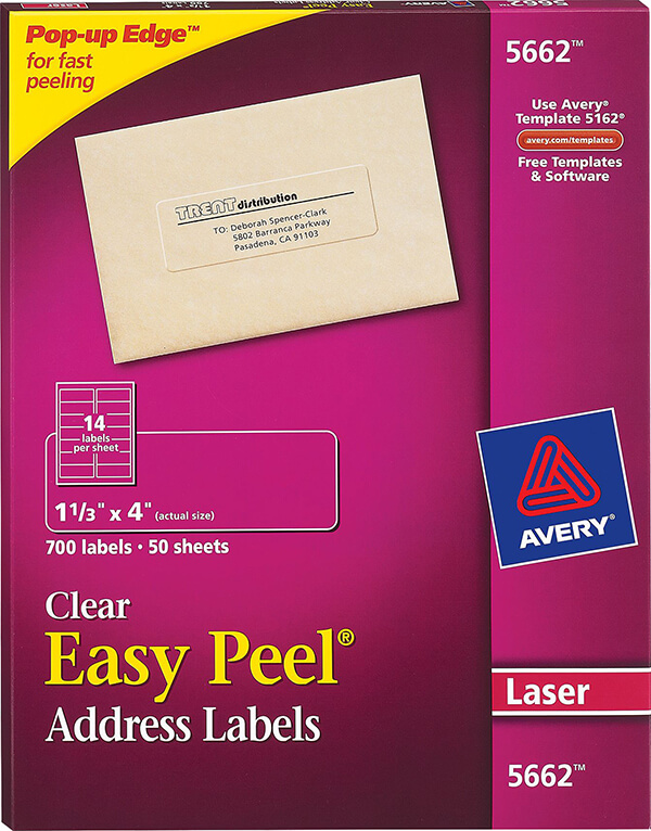 Avery® Easy Peel® Clear Address Labels-5662 - Avery Online Singapore
