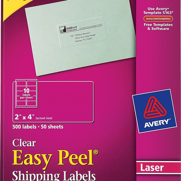 Avery Easy Peel Clear Shipping Labels 5663 Avery Online Singapore
