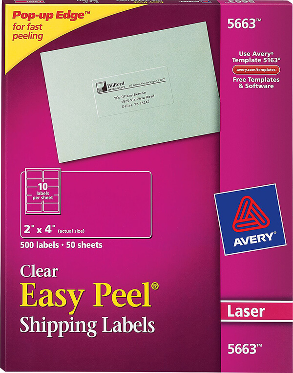 Avery Easy Peel Clear Shipping Labels 5663
