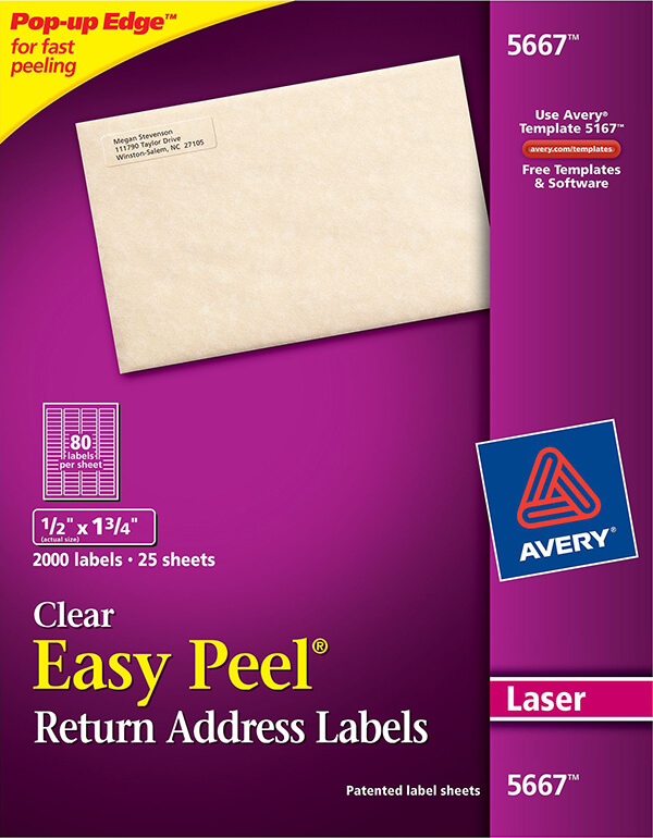 avery easy peel clear return address labels 5667 avery online