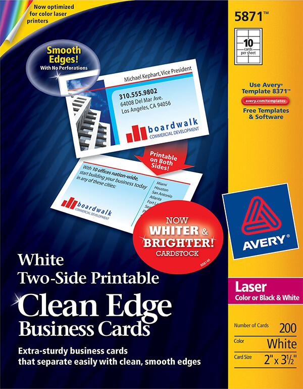 Avery Two Side Printable Clean Edge Business Cards 5871 Avery