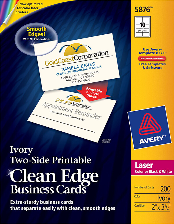 Avery Two Side Printable Clean Edge Business Cards 5876 Avery