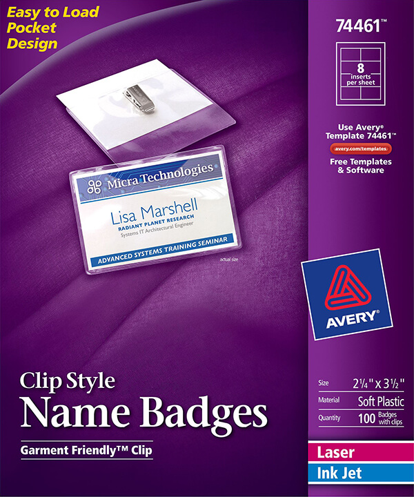 avery clip style name badges top loading 74461 avery online