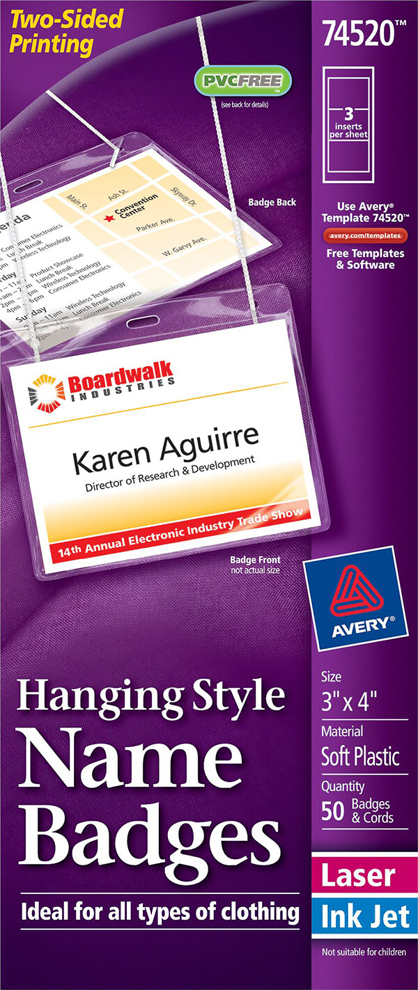 avery u00ae hanging name badges  top-loading-74520