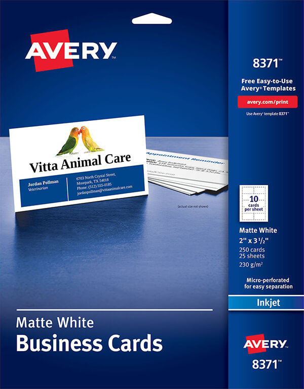 Avery Business Cards For Inkjet Printers 8371 Avery Online Singapore
