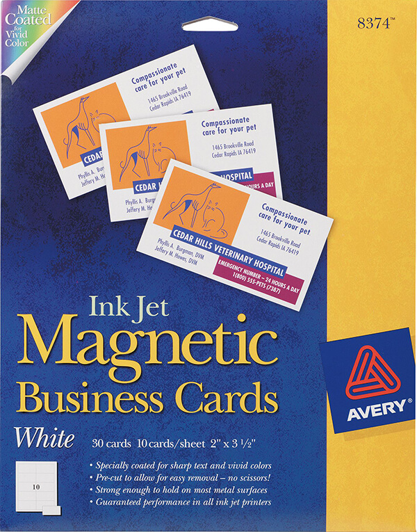 Avery magnetic business cards for inkjet printers 8374 avery avery magnetic business cards for inkjet printers 8374 reheart Choice Image