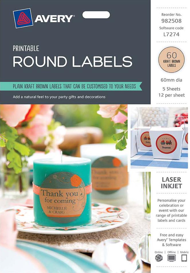 Avery® Brown Kraft Round Labels-982508
