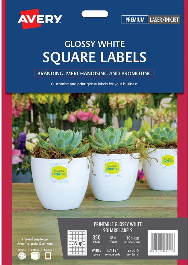 avery glossy white square product labels l7119 10