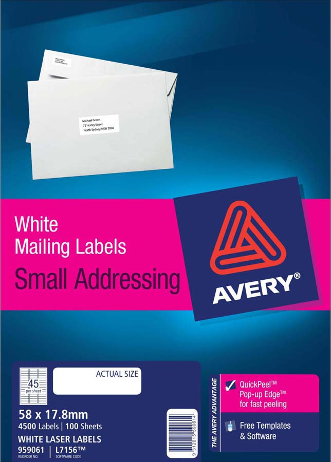 avery white address labels with quick peel l7156 100 avery