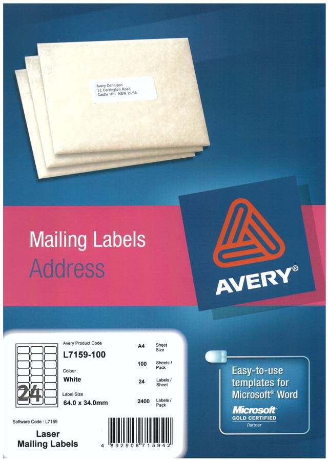 Avery White Address Labels With Quick Peel L7159 100 Avery