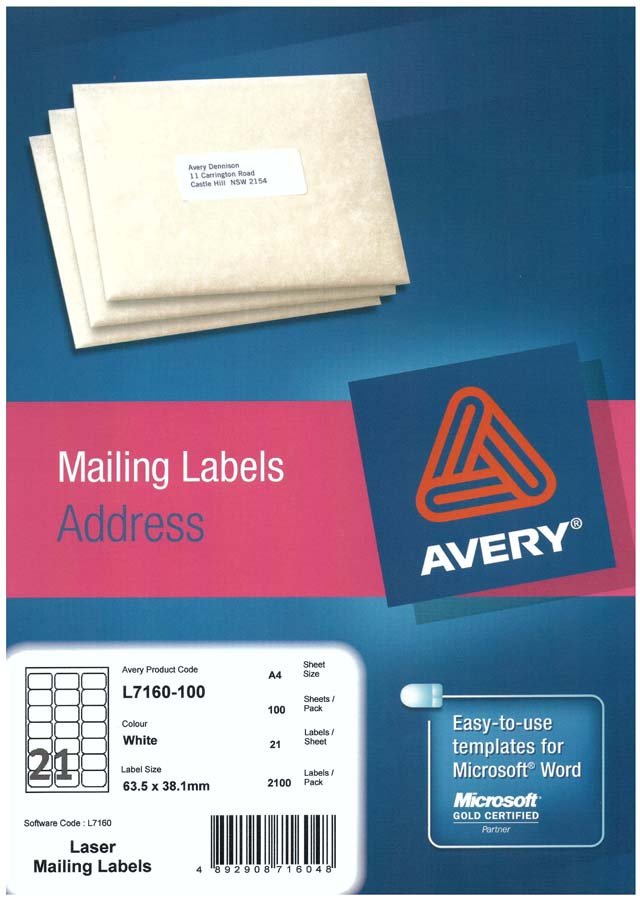 Avery White Address Labels With Quick Peel L7160 100 Avery
