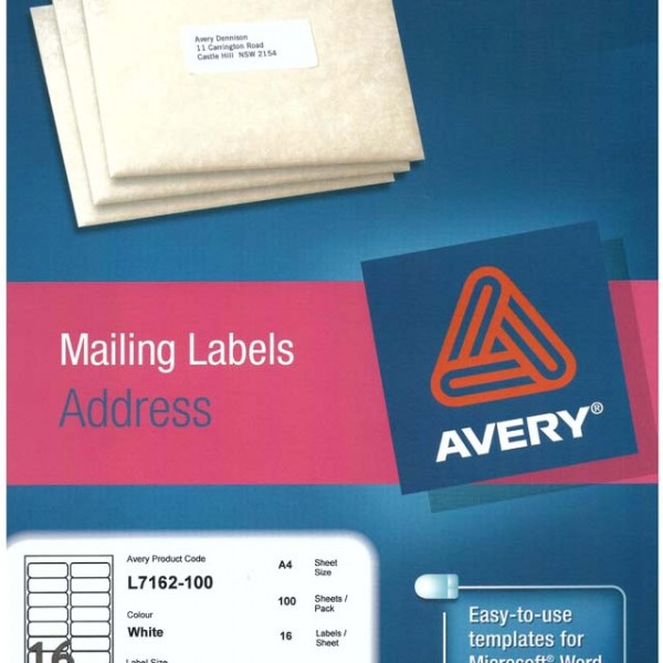 Avery White Address Labels With Quick Peel L7162 100 Avery