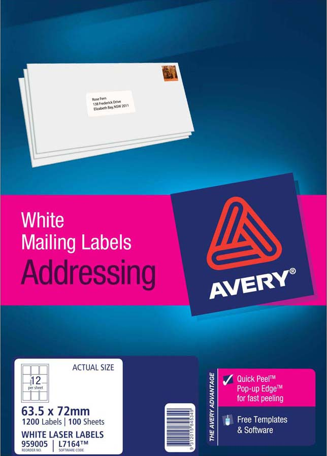 avery white address labels with quick peel l7164 100 avery