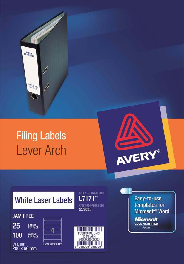 Avery White Trueblock Lever Arch Labels L7171 25 Avery Online