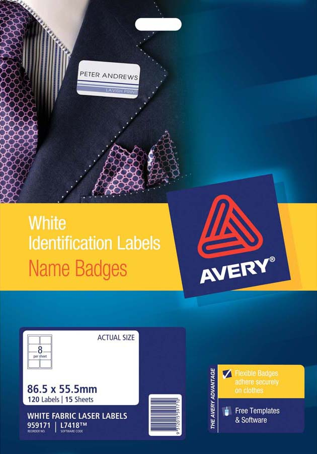 avery silver fabric name badge labels l7418 15 avery online singapore