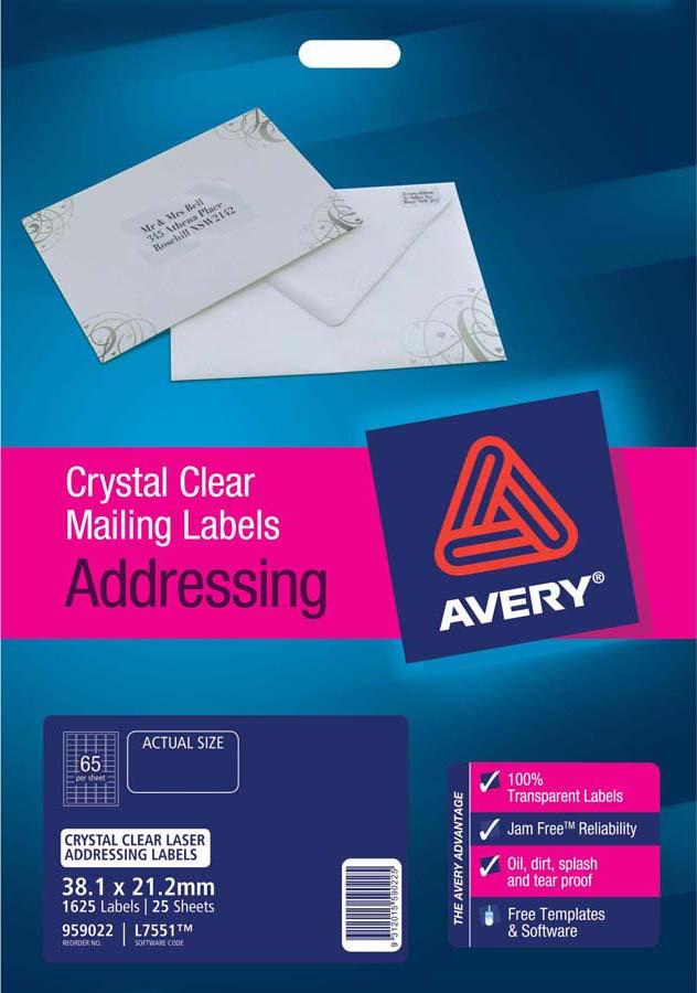 Avery® Crystal Clear Mini Address Labels-L7551-25
