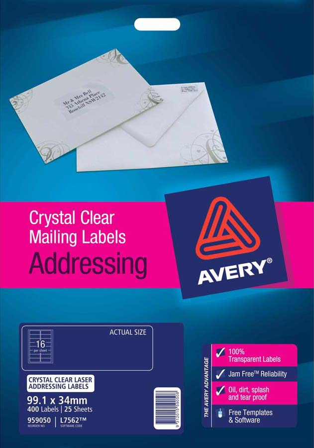 Avery crystal clear address labels l7562 25 avery online singapore avery crystal clear address labels l7562 25 reheart Choice Image