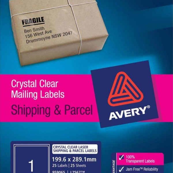 It's just a graphic of Clean Avery Clear Shipping Labels