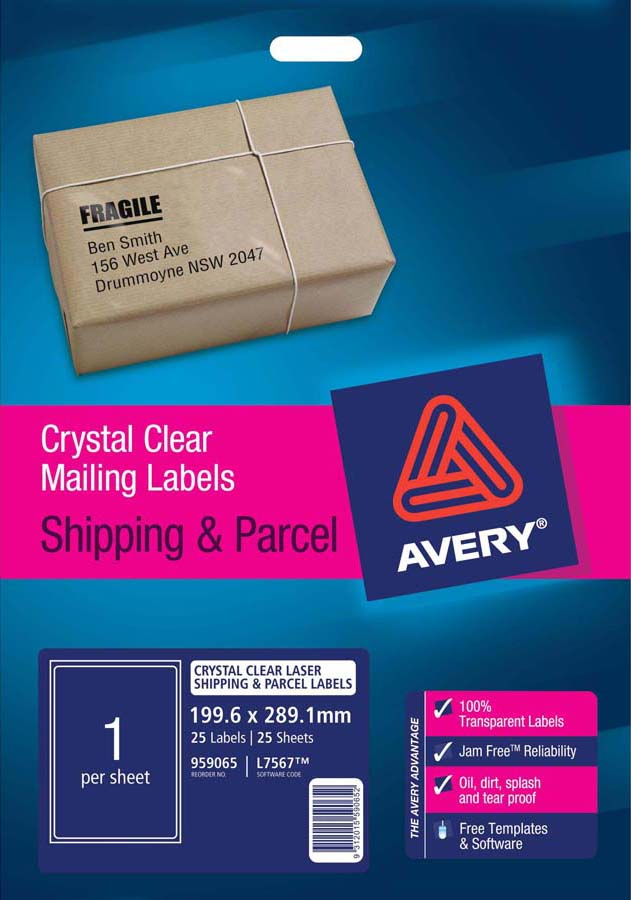 avery crystal clear shipping labels l7567 25 avery online singapore