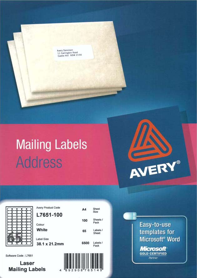 Avery White Mini Address Labels With Quick Peel L7651 100 Avery