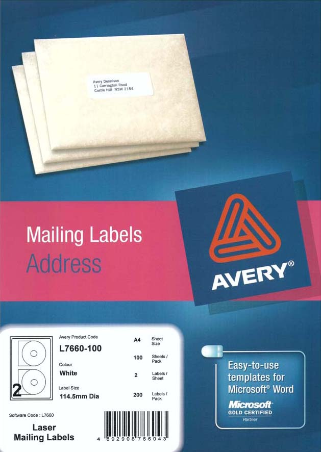 Avery White Cdvcddvd Label L7660 100 Avery Online Singapore