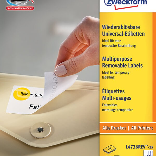 Avery zweckform removable multipurpose label l4736rev 25 for Universal laser printer labels template
