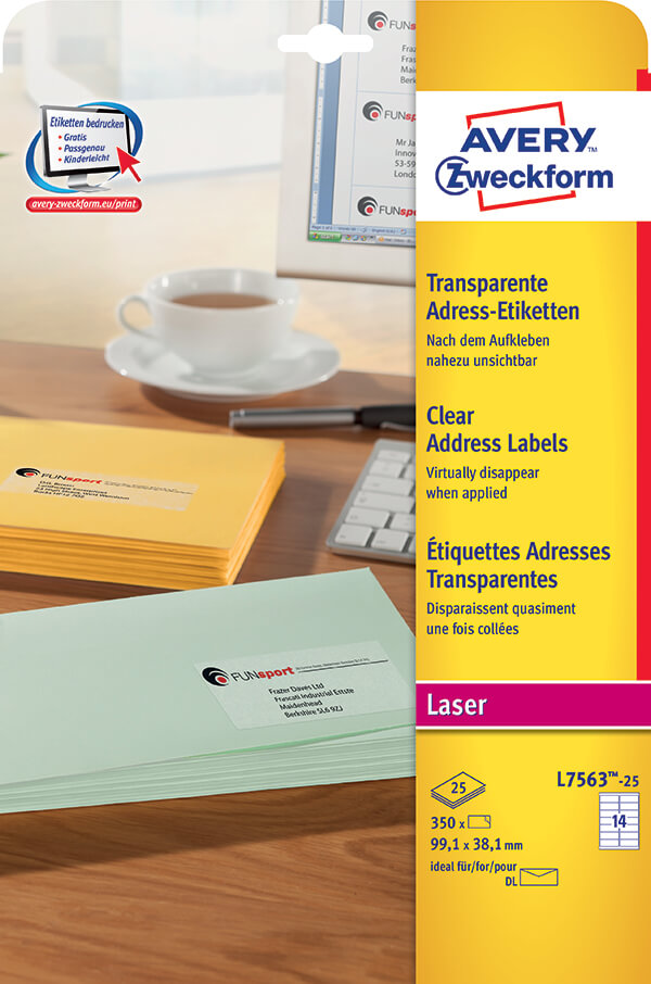 Avery Zweckform Clear Address LabelLZ  Avery Online Singapore