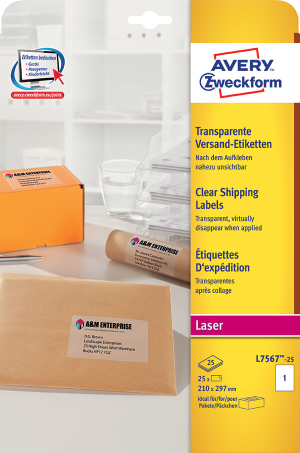 Avery Zweckformu00ae Clear Shipping Label-L7567-25Z - Avery ...