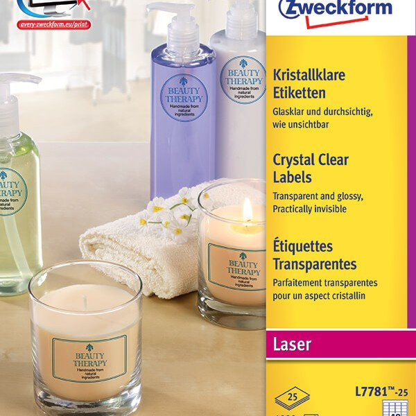 Avery zweckform laser crystal clear labels l7781 25