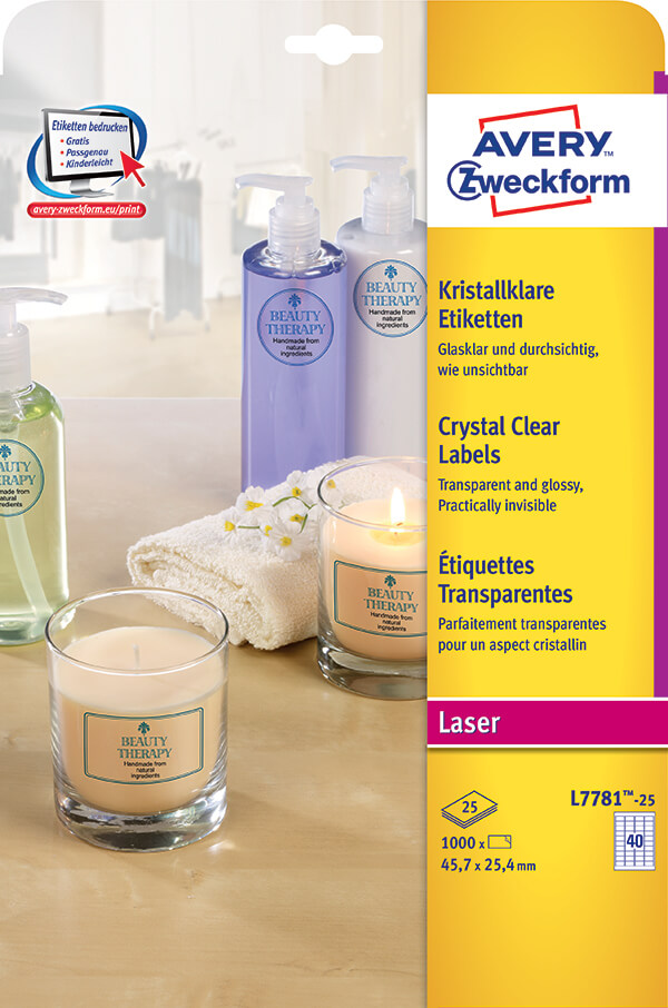 Avery Zweckform® Laser Crystal Clear Labels-L7781-25